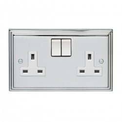 Eurolite Stepped Edge Polished Chrome 2 Gang 13amp DP Switched Socket with White Insert