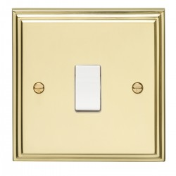 Eurolite Stepped Edge Polished Brass 1 Gang 10amp 2way Switch with White Insert