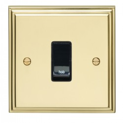 Eurolite Stepped Edge Polished Brass 1 Gang 20amp DP Engraved Appliance Switch with Black Insert