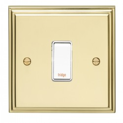 Eurolite Stepped Edge Polished Brass 1 Gang 20amp DP Engraved Appliance Switch with White Insert