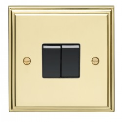 Eurolite Stepped Edge Polished Brass 2 Gang 10amp 2way Switch with Black Insert