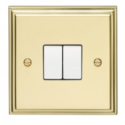 Eurolite Stepped Edge Polished Brass 2 Gang 10amp 2way Switch with White Insert