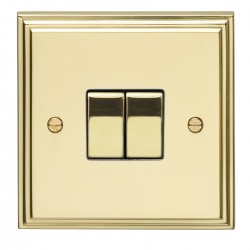 Eurolite Stepped Edge Polished Brass 2 Gang 10amp 2way Switch with Matching Insert