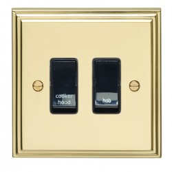 Eurolite Stepped Edge Polished Brass 2 Gang 20amp DP Engraved Appliance Switch with Black Insert