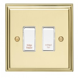 Eurolite Stepped Edge Polished Brass 2 Gang 20amp DP Engraved Appliance Switch with White Insert