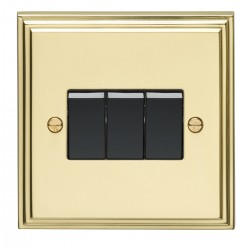 Eurolite Stepped Edge Polished Brass 3 Gang 10amp 2way Switch with Black Insert