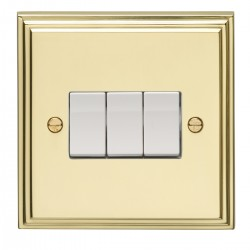 Eurolite Stepped Edge Polished Brass 3 Gang 10amp 2way Switch with White Insert