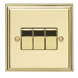 Eurolite Stepped Edge Polished Brass 3 Gang 10amp 2way Switch with Matching Insert