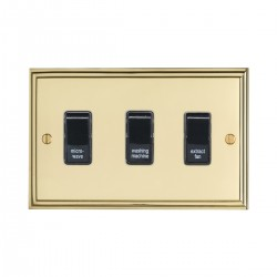 Eurolite Stepped Edge Polished Brass 3 Gang 20amp DP Engraved Appliance Switch with Black Insert