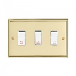 Eurolite Stepped Edge Polished Brass 3 Gang 20amp DP Engraved Appliance Switch with White Insert