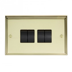 Eurolite Stepped Edge Polished Brass 4 Gang 10amp 2way Switch with Black Insert