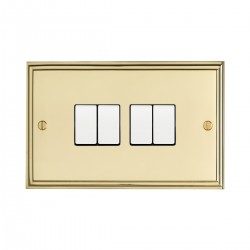 Eurolite Stepped Edge Polished Brass 4 Gang 10amp 2way Switch with White Insert