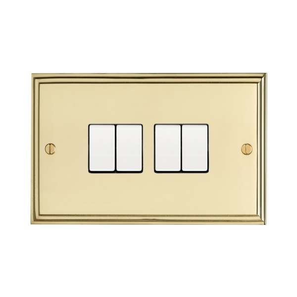 Eurolite Stepped Edge Polished Brass 4 Gang 10amp 2way Switch with ...