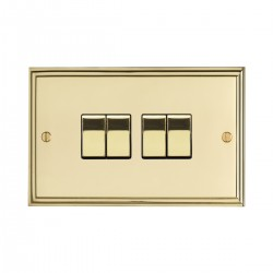 Eurolite Stepped Edge Polished Brass 4 Gang 10amp 2way Switch with Matching Insert