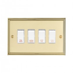 Eurolite Stepped Edge Polished Brass 4 Gang 20amp DP Engraved Appliance Switch with White Insert