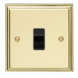 Eurolite Stepped Edge Polished Brass 1 Gang Intermediate Switch with Black Insert