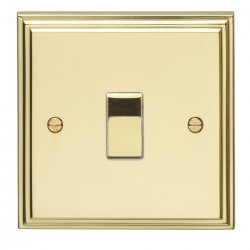 Eurolite Stepped Edge Polished Brass 1 Gang Intermediate Switch with Matching Insert
