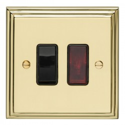 Eurolite Stepped Edge Polished Brass 1 Gang 20amp DP Switch and Neon with Black Insert