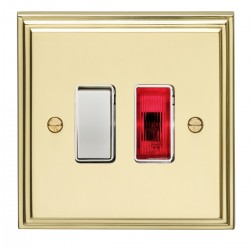 Eurolite Stepped Edge Polished Brass 1 Gang 20amp DP Switch and Neon with White Insert