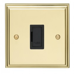 Eurolite Stepped Edge Polished Brass 13amp Unswitched Fuse Spur with Black Insert