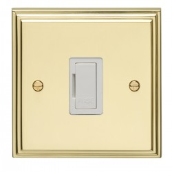 Eurolite Stepped Edge Polished Brass 13amp Unswitched Fuse Spur with White Insert