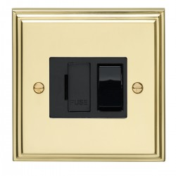 Eurolite Stepped Edge Polished Brass 13amp Switched Fuse Spur with Black Insert