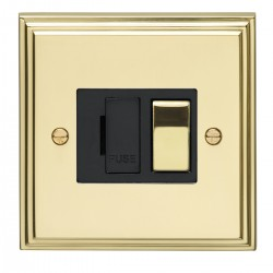 Eurolite Stepped Edge Polished Brass 13amp Switched Fuse Spur with Matching Rocker and Black Insert