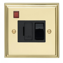 Eurolite Stepped Edge Polished Brass 13amp Switched Fuse Spur and Neon with Black Insert