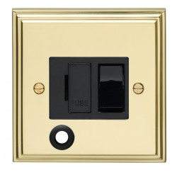 Eurolite Stepped Edge Polished Brass 13amp Switched Fuse Spur Flex Outlet with Black Insert