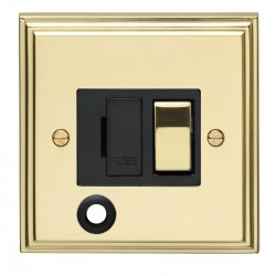Eurolite Stepped Edge Polished Brass 13amp Switched Fuse Spur Flex Outlet with Matching Rocker and Black ...