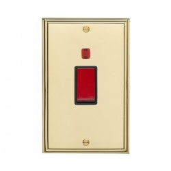 Eurolite Stepped Edge Polished Brass 2 Gang 45amp DP Cooker Switch and Neon with Black Insert