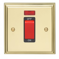 Eurolite Stepped Edge Polished Brass 1 Gang 45amp DP Cooker Switch and Neon with Black Insert