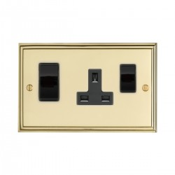 Eurolite Stepped Edge Polished Brass 2 Gang 45amp DP Switch and Socket with Black Insert
