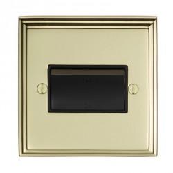 Eurolite Stepped Edge Polished Brass 1 Gang Triple Pole Fan Isolator Switch with Black Insert