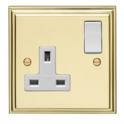 Eurolite Stepped Edge Polished Brass 1 Gang 13amp DP Switched Socket with White Insert
