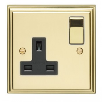 Eurolite Stepped Edge Polished Brass 1 Gang 13amp DP Switched Socket with Matching Rocker and Black Insert