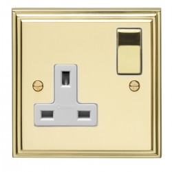 Eurolite Stepped Edge Polished Brass 1 Gang 13amp DP Switched Socket with Matching Rocker and White Insert