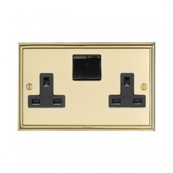 Eurolite Stepped Edge Polished Brass 2 Gang 13amp DP Switched Socket with Black Insert
