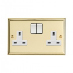 Eurolite Stepped Edge Polished Brass 2 Gang 13amp DP Switched Socket with White Insert