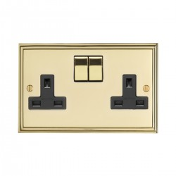 Eurolite Stepped Edge Polished Brass 2 Gang 13amp DP Switched Socket with Matching Rocker and Black Insert
