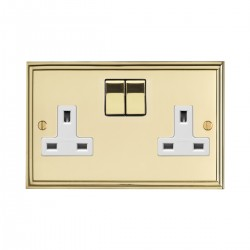Eurolite Stepped Edge Polished Brass 2 Gang 13amp DP Switched Socket with Matching Rocker and White Insert