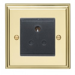 Eurolite Stepped Edge Polished Brass 1 Gang 5amp Unswitched Socket with Black Insert
