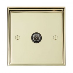 Eurolite Stepped Edge Polished Brass 1 Gang TV Outlet with Black Insert