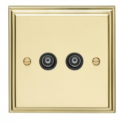 Eurolite Stepped Edge Polished Brass 2 Gang TV Outlet with Black Insert