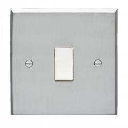 Eurolite Victorian Satin Chrome 1 Gang 10amp 2way Switch with White Insert