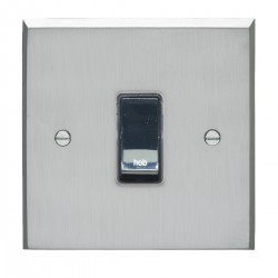 Eurolite Victorian Satin Chrome 1 Gang 20amp DP Engraved Appliance Switch with Black Insert