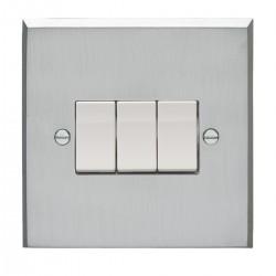 Eurolite Victorian Satin Chrome 3 Gang 10amp 2way Switch with White Insert
