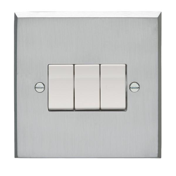 Eurolite Victorian Satin Chrome 3 Gang 10amp 2way Switch with White ...