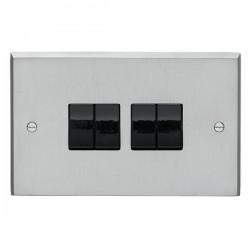 Eurolite Victorian Satin Chrome 4 Gang 10amp 2way Switch with Black Insert