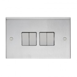 Eurolite Victorian Satin Chrome 4 Gang 10amp 2way Switch with White Insert